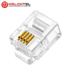 Porcellana MT-5051 RJ11 Modular Plug 4P4C 6P4C Plug RJ11 Modular Connector With Gold Plated fabbrica
